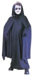 Black cape with hood. One size fits up to size 12.