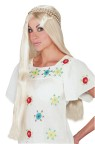 Step back into the 60s  with this long blonde wig. Braided  accents give traditional hippie look!
