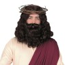 Shoulder length wavy brown wig and matching beard with attached mustache.
