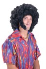 Tight curled, large afro wig with long sideburns.