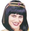 Medium length black wig with bangs in typical ancient Egyptian style with attached gold fabric and faux jewel headpiece. One size fits most adults. Perfect to complete any Cleopatra costume.