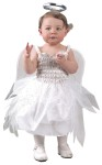 Costume includes: Dress, Wings with attached halo. One size, fits up to 24 months.
