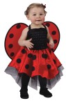 Includes Red and Black satin ladybug dress with Black net underskirt, matching attached wings and Red fancy pants diaper cover with snaps for easy diaper changes.  Hairbow, tights and shoes not included. One size, fits up to 24 months.