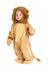 Soft coral plush jumpsuit with matching plush hood and mitts. Attached tail and feet.