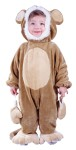 A sweet little monkey, so soft and cuddly! Coral plush costume, super soft inside and out! Hooded jumpsuit with attached feet/foot covers, attached ears and mittens, back snaps and snap open in-seam for easy diaper changes.
