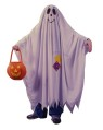 One piece scalloped ghost robe is a throwback to the old timey ghost costume. Includes pumpkin treat bag.