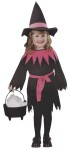 Includes dress with attached belt. Complete with matching hat. Broom not included. Fits sizes 3T to 4T.