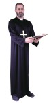 Priest Costume includes: Lightweight Black Cassock, attached white collar. Fits up to 195lbs. (Cross not included) Also available in plus size.
