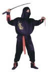 Hooded shirt with printed gold dragon, fabric veil mask, pants with elastic waist, extra long red sash, ankle ties and wrist ties. One size.