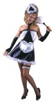 Includes mini skirt with attached neck choker and lace-up glovelettes, lace trim tune top, heart shaped apron, heart shaped maid cap and leg garter. Fits sizes 4-14. (Feather duster not included).