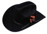 Black felt cowboy hat with tie around band and accenting feather.