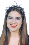 Plastic headpiece with sequin star design attached. Fits adult or child