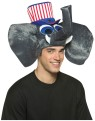 Patriot Elephant Hat - Plush elephant head with patriotic top hat attached.