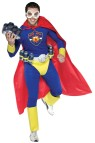 Beer Man Adult Costume - Never fear the beer is here! Thanks to Beer Man! Costume  includes goggles, top, pants, cod piece with belt, cape, and spats. 100 percent polyester. One size fits most.