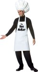 Chef hat and apron. The Bun Maker is imprinted on front of apron. One size fits most adults. *Pants and shirts not included.