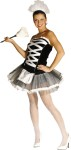 Unique French Style Maid includes:  fancy criss-cross top with tutu style skirt and apron attached, lacy style fanci pants and coordinating hat.  Fits adult sizes 6-10.