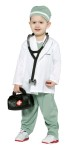 This little doc comes ready with stethoscope, bag, jacket, scrubs and cap. Costume is 100% polyester.