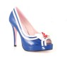 La Matey Sailor Shoes - Sexy open toe pumps, 3 inch heel with bow and anchor attached.