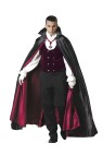 Gothic Vampire Adult Costume - Velvet vest with attached shirt sleeves and scarf collar, full length lined satin cape, white gloves and medallion on ribbon. Pants not included. Large fits chest 42-44 and waist 36-38; Medium fits chest 38-40 and waist 32-34; X-large fits chest 46-48 and waist 40-42.