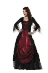 Gothic Vampira Adult Costume - Full length lace trimmed panne and shimmer satin gown, jeweled choker and tulle/lace petticoat. Large fits bust 37-39.5, waist 29-31.5, and hips 39.5-42; Medium fits bust 35-36.5, waist 27-28.5, and hips 37.5-39; Small fits bust 33-34.5, waist 25-26.5, and hips 35.5-37; X-large fits bust 40-43, waist 32-35, hips 42.5-45.5.