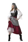"Pirates Wench Adult Costume - Mid length dress, gold trimmed lace-up vinyl vest, tulle petticoat, sash, bandana and jeweled choker. Large fits bust 37-39.5, waist 29-31.5, and hips 39.5-42; Medium fits bust 35-36.5, waist 27-28.5, and hips 37.5-39; Small fits bust 33-34.5, waist 25-26.5, and hips 35.5-37; X-large fits bust 40-43, waist 32-35, and hips 42.5-45.5. Also available in Plus Size: <a href=""/pirate-s-wench-adult-costume---plus-size-grp-123ic5004-plus.aspx"">ic5004-plus</a>."