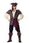 Rustic Pirate Adult Costume - Embossed vinyl vest, gauze shirt, sash, bandana, boot tops, hat, belt, eyepatch and earring. Pants not included. Medium fits chest 38-40 and waist 32-34; Large fits chest 42-44 and waist 36-38; XL fits chest 46-48 and waist 40-42.
