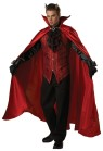 Devil Costume includes full length red satin cape, brocade vest with attached lace jabot and jeweled medallion, black gloves, and deluxe vinyl devil horns. Pants not included. XL fits chest 46-48 and waist 40-42, Large fits chest 42-44 and waist 36-38 & Medium fits chest 38-40 and waist 32-34.
