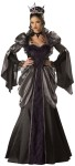 Wicked Queen Costume includes full-length long sleeve gown with attached peplum and sweeping hem; petticoat, sequined crown, and jeweled lace choker. Sizes : Large - Bust measures 37-39.5, waist 29-31.5, hips 39.5-42, Medium - Bust measures 35-36.5, waist 27-28.5, hips 37.5-39 & XL - Bust measures 40-43, waist 32-35, and hips 42.5-45.5.