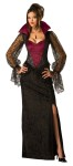 Vampiress Adult Costume - Full length gown with stand up collar and lace sleeves. Necklace not included.