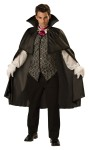 Vampire Adult Costume - Cape, vest with attached shirt sleeves, collar and tie. Pants and gloves not included.