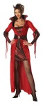 Seductive Devil Adult Costume - Dress with collar and attached brooch plus horns. Stockings not included.