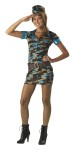Major Trouble Costume includes teal and brown camo print dress, matching wedge cap, and brown belt.