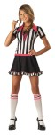 Racy Refree Costume includes one piece dress with black skirt and black and white striped top with pink accents and lace-up collar and matching knee high socks.