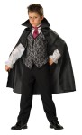 Midnight Vampire Costume includes cape, pants, vest with attached sleeves, collar and tie.  Child Size.