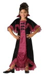 Midnight Vampiress Costume includes burgundy and black dress with lace accents, attached collar, and capelet.