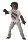 Werewolf Child Costume - Vinyl chinless mask, shirt with realistic graphics tears and fingerless gloves. supply your own pants and makeup