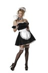 Oui Oui Adult Costume - Shimmer satin mini dress with attahced apron, tulle and lace petticoat, lace headband, collar, cuffs, feather duster and lace top thigh high stockings. Medium fits bust 35-36.5, waist 27-28.5, and hips 37.5-39; Small fits bust 33-34.5, waist 25-26.5, and hips 35.5-37; X-small fits bust 31-32.5, waist 23-24.5, and hips 33.5-35.