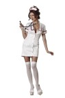 Temperature Rising Adult Costume - Stretch satin snap-up mini dress, hat, thigh high stockings and toy stethoscope. Bra not included. Large fits bust 37-39.5, waist 29-31.5, and hips 39.5-42; Medium fits bust 35-36.5, waist 27-28.5, and hips 37.5-39; Small fits bust 33-34.5, waist 25-26.5, and hips 35.5-37; X-small fits 31-32.5, waist 23-24.5, and hips 33.5-35.