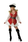 Pirate Treasure Adult Costume - Jacket style dress with attached lace skirt, epalets, lace sleevelettes, hat with feather, boot tops and belt. Large fits bust 37-39.5, waist 29-31.5, and hips 39.5-42; Medium fits bust 35-36.5, waist 27-283.5, and hips 37.5-39; Small fits bust 33-34.5, waist 25-26.5, and hips 35.5-37; X-small fits bust 31-32.5, waist 23-24.5, and hips 33.5-35.