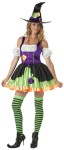 Witchful Thinking Adult Costume - Multi-fabric mini dress, puff sleevelettes, crooked witch hat with silver buckle, thigh high striped stockings, petticoat, and curled shoe covers with buckles. Large fits bust 37-39.5, waist 29-31.5, and hips 39.5-42; Medium fits bust 35-36.5, waist 27-28.5, and hips 37.5-39; Small fits bust 33-34.5, waist 25-26.5, and hips 35.5-37; XS fits bust 31-32.5, waist 23-24.5, and hips 33.5-35.