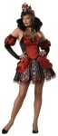 Queen of Broken Hearts Adult Costume - Mini dress with sheer stand-up collar and attached broken heart panels, puff sleevelettes, petticoat, wide-mesh fishnet stockings, jeweled choker, and broken heart crown. Large fits bust 37-39.5, waist 29-31.5, and hips 39.5-42; Medium fits bust 35-36.5, waist 29-31.5, and hips 39.5-42; Small fits bust 33-34.5, waist 25-26.5, and hips 35.5-37; X-small 31-32.5, waist 23-24.5, and hips 33.5-35.