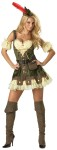 Racy Robin Hood Adult Costume - Lace-up vinyl trimmed dress, belt, sachel, puff sleevelettes, petticoat, hat with feather, and boot covers. Large fits bust 37-39.5, waist 29-31.5, and hips 39.5-42; Medium fits bust 35-36.5, waist 27-28.5, and hips 37.5-39; Small fits bust 33-34.5, waist 25-26.5, and hips 35.5-37; X-Small fits bust 31-32.5, waist 23-24.5, and hips 33.5-35.