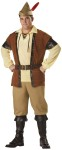 Robin Hood Costume includes micro suede tunic trimmed with vinyl and metal studs, lace-up shirt, pants, hat with feather, belt, and boot tops. Sizes : XXXL fits chest 54-56 and waist 50-52 & XXL fits chest 50-52 and waist 46-48.