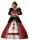 Queen Of Hearts Adult Costume - Full length gown with printed heart details and gold trim, hoop and tulle petticoat, velvet jeweled choker and sequin heart tiara.