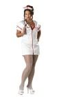 "Temperature Rising Adult Costume (Plus Size) - Stretch satin zip-up mini dress with 2-way zipper, hat, white fishnet pantyhose and toy stethoscope. Bra not included. XL fits bust 40-43, waist 32-35, and hips 42.5-45.5; XXL fits bust 44-47.5, waist 36-40, and hips 46.5-50. Also available in Standard Size: <a href=""/temperature-rising-adult-costume-grp-123ic2008.aspx"">ic2008</a>."