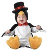Dont let this litte bird get chilly. Lil Penguin Character Costume includes zippered body suit with bowtie and snap leg closure, attached tail, slip-on skid resistant booties, and hood with top hat. Booties intended for indoor use only.