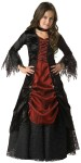 Gothic Vampira Child Costume - Full length lace-trimmed panne and shimmer satin gown, jeweled choker and tulle/lace petticoat. Size Large fits waist 23-23.5 and height 52-53; Size Medium fits waist 22-22.5 and height 45-46.