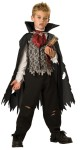 Vampire B Slayed Child Costume - Tattered cape, layered vest/shirt combo, ascot, pants and realistic vinyl stake attached and sticks out of costume.