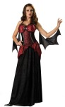 Vampira Adult Costume - Dress, adjustable corset with attached peplum and arm drapes. Large - BUST 37-39.5, WAIST 29-31.5, HIPS 39.5-42; Medium - BUST 35-36.5, WAIST 27-28.5, HIPS 37.5-39; Small - BUST 33-34.5, WAIST 25-26.5, HIPS 33.5-35; XL - BUST 40-43, WAIST 32-35, HIPS 42.5-45.5.