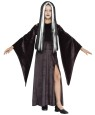 Vampira Child Costume - Long velvety dress with flowing open sleeves.